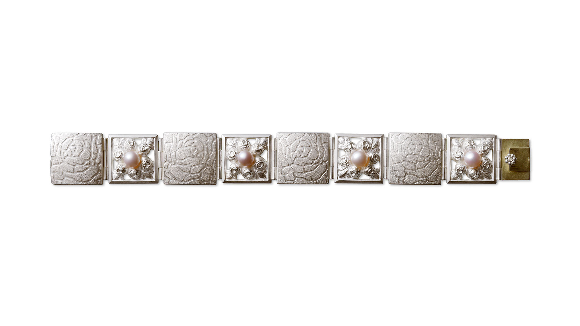 02 Armband Rosen 925 Silber 585 Gelbgold Zuchtperlen