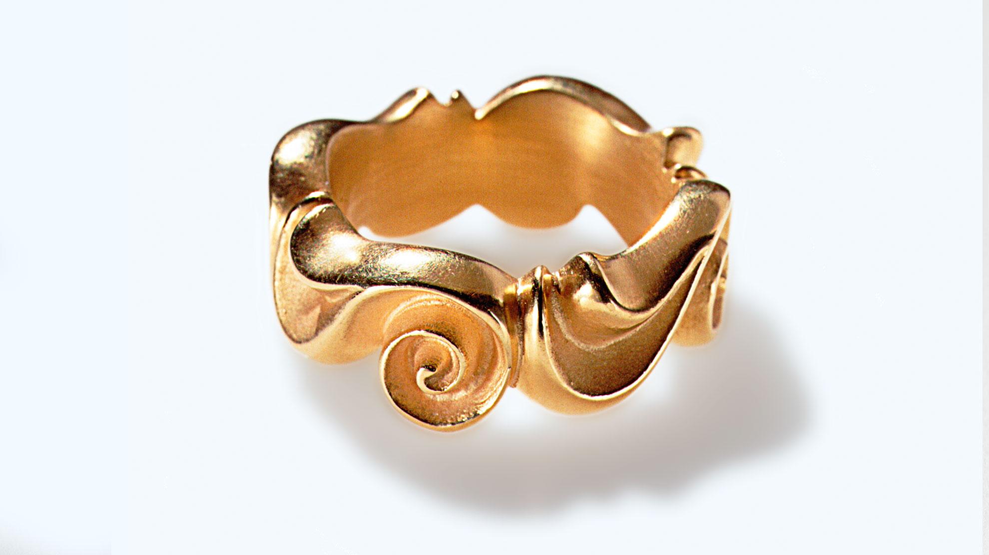 13 Ring Barock 925er Silber, feinvergoldet