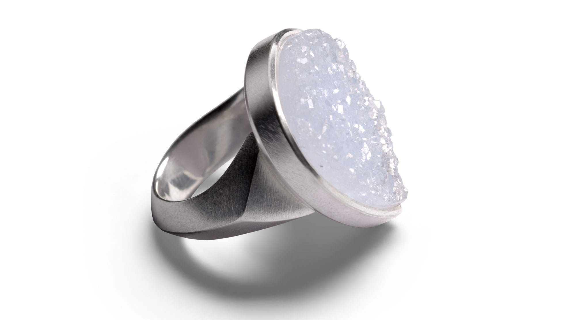 14 Ring Druse, 925 Silber,  Chalcedonkristall