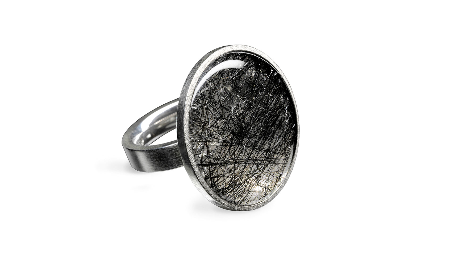 Ring Rutilquarz 925 Silber, Bergkristall mit schwarzen Rutilnadeln