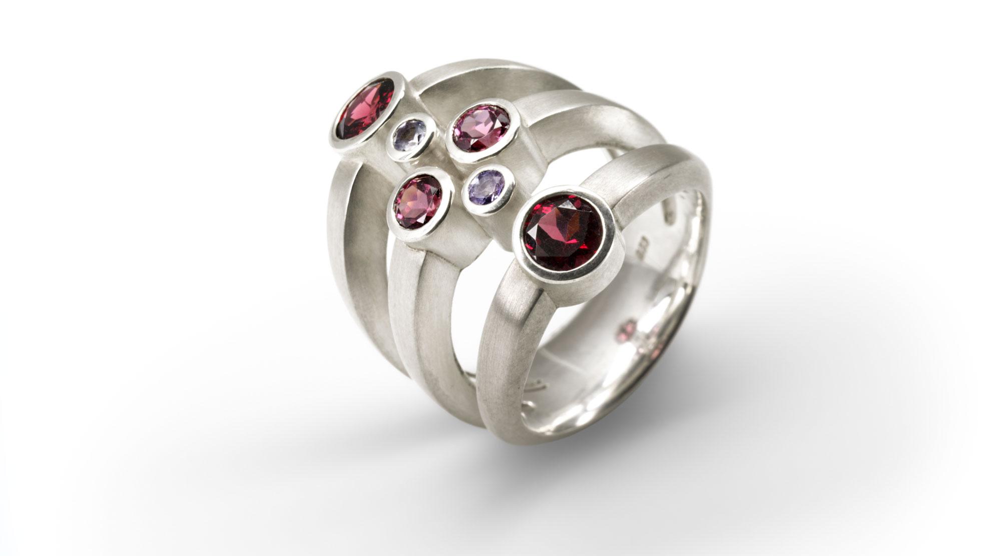 01 Ring Trio 925er Silber mit Granat, Tansanit und Turmalin