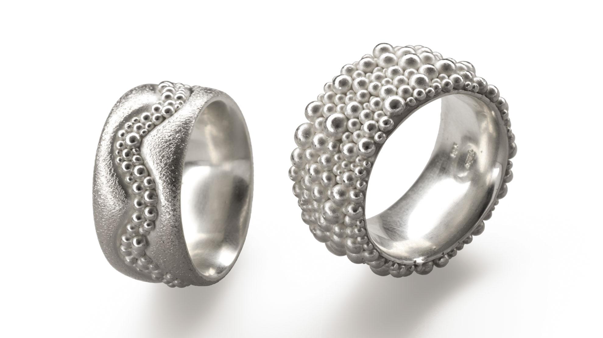 15 Ringe Kugeln 925er Silber
