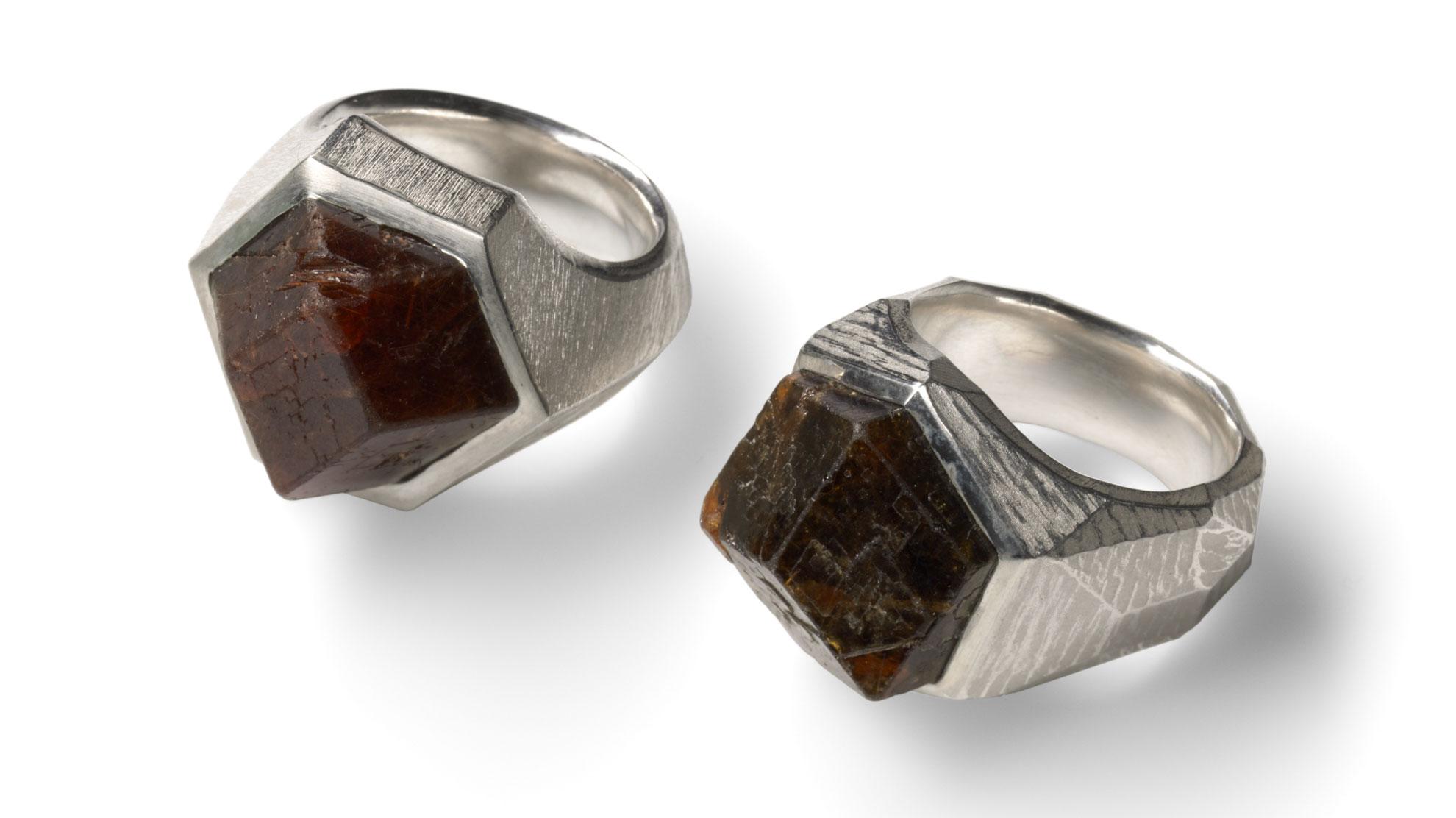 17 Ringe Rohgranat 925 Silber, natürlicher Granatkristall