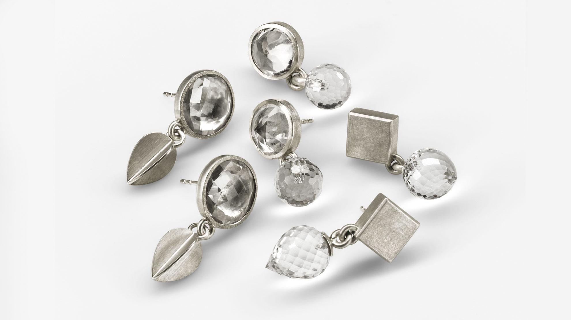 Ohrstecker Bergkristall 925 Silber, Bergkristall