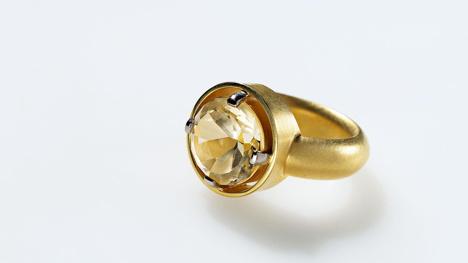 21 Ring Citrin 750er Gelb- und Weißgold, Citrin