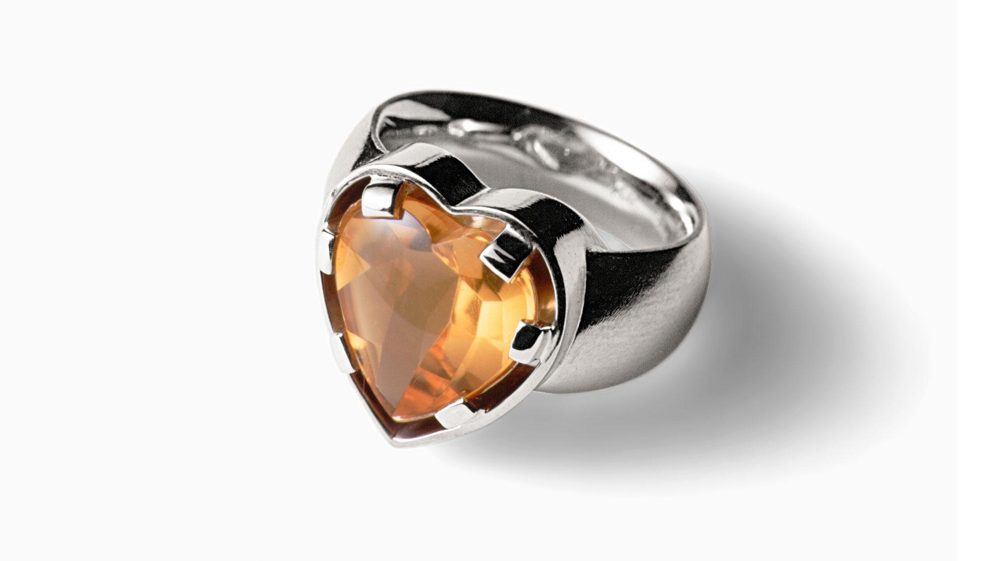 12 Ring Herzblut 750er Weiß- und Gelbgold, Citrin