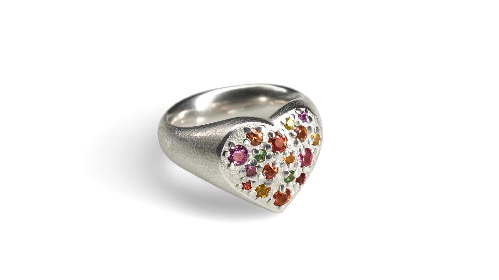 23 Ring funkelndes Herz 925 Silber, Buntsaphire