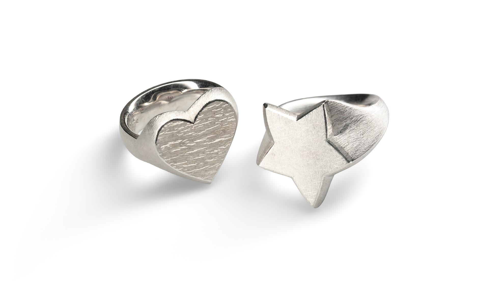22 Ring Herz und Ring Stern 925 Silber
